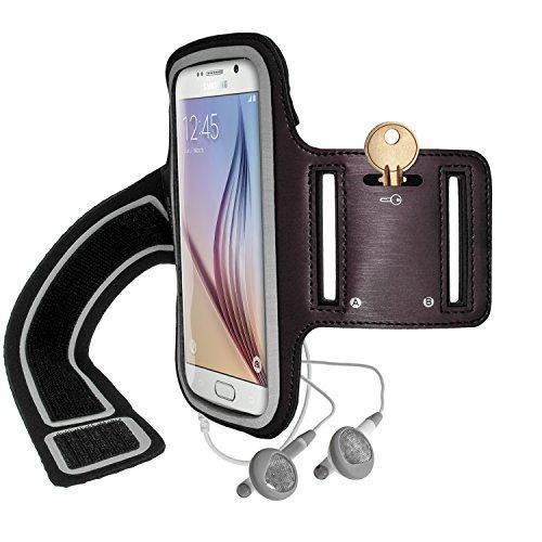 iGadgitz U3576 Brazalete Deportivo Antideslizante Compatible con Samsung Galaxy S6 SM-G920, para Correr, Gimnasio, Carcasa con Ranura - Negro