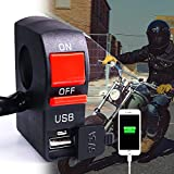 Motorcycle Handlebar Toggle Switch with USB Charger, 2 in 1 Motorbike Headlight Switch Controller with USB Port