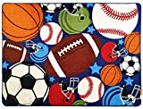 Blue Kids Rug Fun Sport Rugs Nylon Carpet Boys Girls Childrens Rug Balls Print with Soccer Ball, Basketball, Football, Tennis Ball Bedroom Playroom (80 x 120cm(31.5'' x 47''))