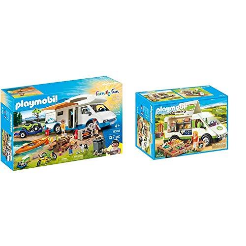 PLAYMOBIL 9318 - Family Fun, Camping Abenteuer, Ab 4 Jahren & Country 70134 Hofladen-Fahrzeug, Ab 4 Jahren