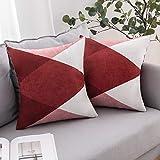 miulee confezione da 2 fodere scamosciate per cuscini federe geometriche stampate copricuscini decorazione per divano letto casa auto 45x45cm diamante rosso