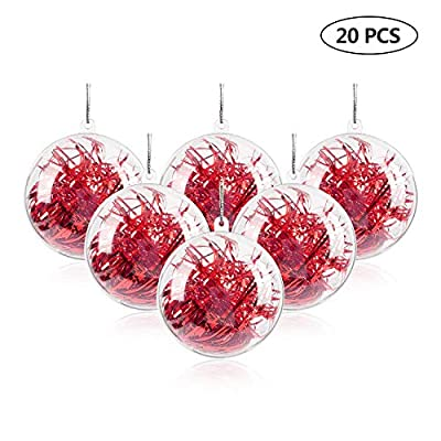 Uten 20Pcs DIY Ornament Balls Christmas Decorations Tree Ball Clear Fillable Baubles Craft for New Years Present Holiday Wedding Party Home Decor 80mm 100mm