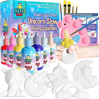 KEFF Creations Paint Your own Squishy, Squishies Painting Kit for Kids, Arts and Crafts for Kids, Slow Rise Squishies, Unicorn Painting kit for Kids Stress Anxiety Relief for Kids and Adults.