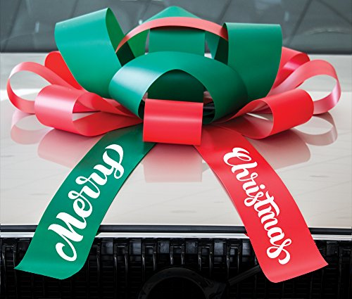 CarBowz Big Merry Christmas Car Bow, Giant 30' Bow, Non-Scratch Magnet, Weather Resistant Vinyl (Red/Green)