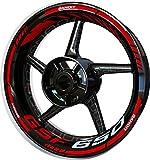 Motocicleta Moto Llanta Inner Rim Tape Decal Pegatinas F2 para Suzuki GSF 650 Bandit (Rojo)