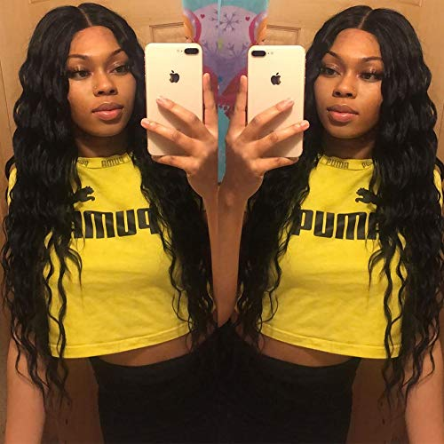 ENTRANCED STYLES Long Curly Wigs for Black Women Black Synthetic Wig Middle Part Heat Resistant Curly Wavy Wig Natural Looking Wig Cosplay Daily Party Use 26 Inch