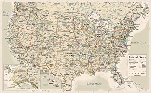 Antique Style USA Map - Wall Chart Map of The United States of America - Made in The USA - Updated for 2020 (Laminated, 18' x 29')