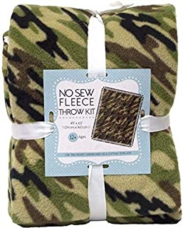 Camouflage No-Sew Throw Anti-Pill Fleece Fabric Kit