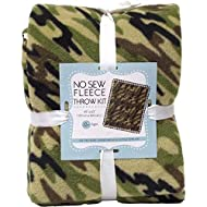 Camouflage No-Sew Throw Anti-Pill Fleece Fabric Kit