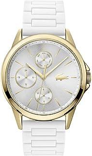 Lacoste Women's Silver White Dial White Silicone Watch - 2001111