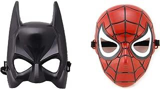 2 Pcs Superhero Spiderman + Batman Mask for boy Girl Kids Adults Party Birthday Halloween Red Black