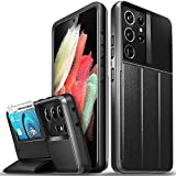 Vena vCommute Wallet Case Compatible with Samsung Galaxy S21 Ultra (6.8'-inch), (Military Grade Drop Protection) Flip Leather Cover Card Slot Holder with Kickstand - Space Gray