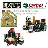 KIT TAGLIANDO COMPATIBILE CON PIAGGIO 250 BEVERLY GT RST IE SPORT CRUISER TOURER MIC 04  09 FILTRO ARIA OLIO 4LT CASTROL 10W 40 HIFLO RICAMBIO SPECIFICO CAMBIO OLIO FILTRI