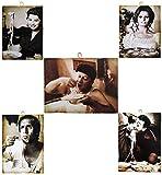 KUSTOM ART 5 cuadros de estilo vintage con los personajes famosos – Fantozzi/Celentano/Sofia Loren/Totò/Sofia Loren – Impresión sobre madera para decoración de restaurante, pizzería, bar, hotel