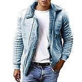YYG メンズ フェイク レザー アウターウェア ジップアップ フリース 裏地秋冬 コート ジャケット Blue S