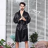 Shability Men S Single Piece Silk Robe Summer Thin Long-sleeved Pajamas XL Black Bathrobe Men Robes Bath Silk Robe Men Silk Robe For Men yangain (Color : Black Size : Medium)