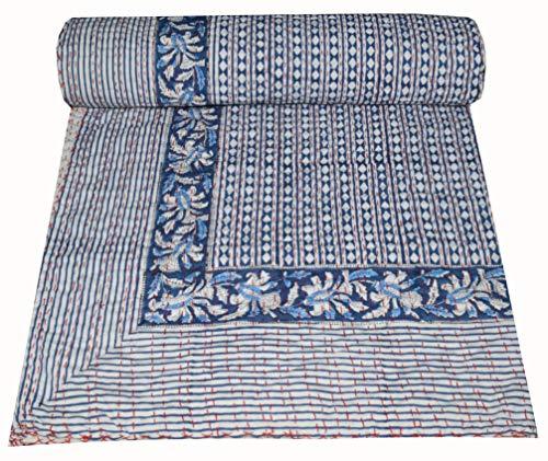 Majisacraft Colcha india con estampado de bloques de mano Kantha, diseño floral, lunares kantha, colcha india, ropa de cama de algodón puro, tamaño Queen 228 x 258 cm