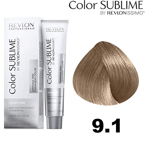 Revlon Professional Color Sublime By Revlonissimo Color&Care Ammonia Free Permanent Color 9.1, Sehr Hellblond Asch, 1er Pack(1 x 60 ml)