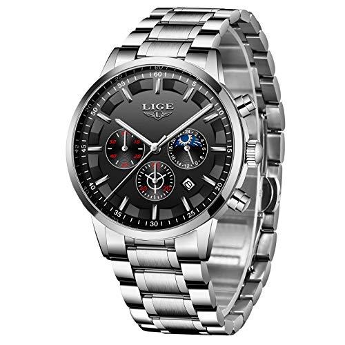 LIGE Herrenuhr Fashion Sport Chronograph Wasserdicht Analog Quarz Edelstahlarmband Beiläufige Uhr (Silber)