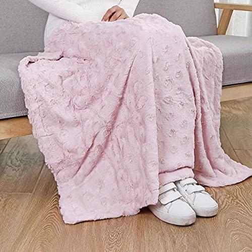 Amosiwallart Manta - Muchos tamaños y Colores Diferentes - Manta de Microfibra Manta para Sala de Estar Manta para Cama - Fibra Polar de Microfibra de Franela -Rosa Pipi_100x70cm