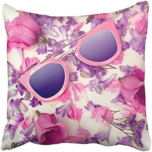 Throw Pillow Cover Poliéster 18X18 Pulgadas Gafas de Sol de Colores Brillantes Tendencia en Flores El Verano está por Venir Colores Chica Aspecto Pastel Chill Funda de Almohada Decorativa de d
