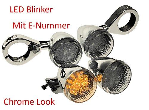 Motorrad Licht Scheinwerfer LED Harvey Chrom klar Zusatzscheinwerfer Nebellicht geeignet für Chopper, Cruiser und Cafe Racer mit passendem M6 Gewinde BZW. Adapter