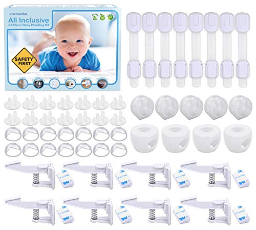 Stock Your Home Baby Proofing Kit (53 Pieces) - Ecofriendly & Non Toxic Baby Proof Set - 14 Corner Guards, 14 2-Prong Plug Covers, 8 Cabinet Locks, 8 Latches, 5 Stove Knob Covers, & 4 Door Knob Covers