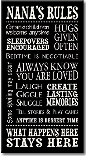 My Word! Nana's Rules Decorative Sign, Black with Cream Lettering, 8.5x16