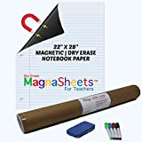 """MagnaSheets Magnetic Notebook Paper 22""""W x 28""""H   1 Eraser, 4 Markers, 1 Dry Erase Magnetic Writing Page   Teacher, Classroom, Lakeshore, Created as Teacher Resources, Learning, Teaching Supplies"""