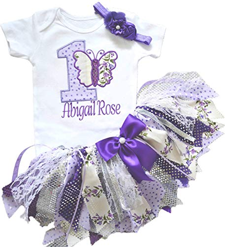 Lavender Butterfly First Birthday Outfit for Baby Girl – 1st Bodysuit Tutu - Cake Smash Purple Ribbon Tutu for Toddler Girl – Personalized Birthday Present to Daughter