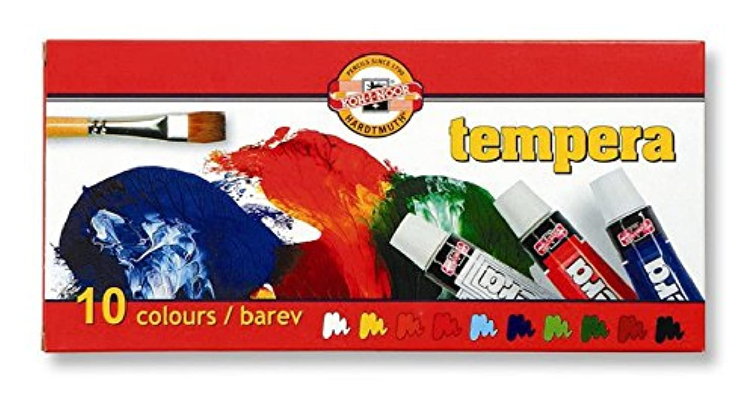 KOH-I-NOOR 016252600000 10 ml Set of Tempera Colour Paint (Pack of 10)