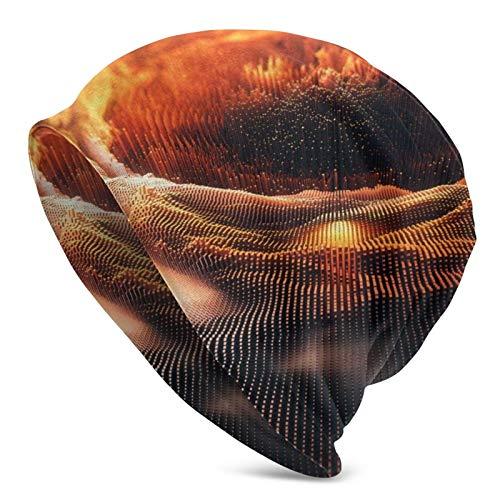 BGDFN Gorro de Punto de Arte Abstracto con Ondas de partículas Amarillas, Gorros Calientes elásticos, Gorros de Calavera con puños Suaves, Gorro Diario para Unisex
