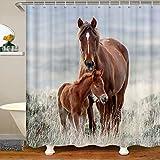 3D Pferdestoff Duschvorhang 180x180 Galoppierende Pferde Wasserdichtes Duschvorhang Textil Jungen Eltern Kind Wildtiermuster Tierwelt Stil Farmhouse