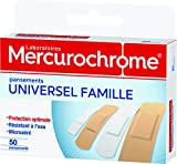 MERCUROCHROME - Pansements Universel Famille - 3 tailles - Protection optimale - Résistants à l'eau - Boite de 50 pansements