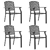 <span class='highlight'><span class='highlight'>Tidyard</span></span> Outdoor Chairs Garden Reclining Chairs Kitchen Dining Chairs 4 pcs Mesh Design Steel Black