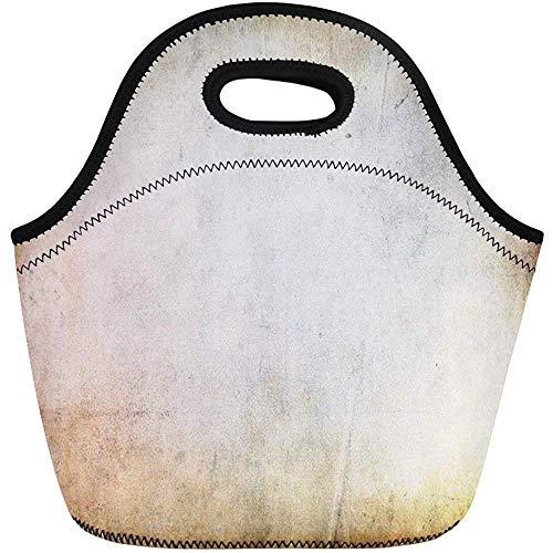 Neopren Lunchtasche,Beige Abstrakte Vintage Tan Alte Leere Borown Brush Sackleinen Wiederverwendbare Picknick-Taschen,Tragbare Tragetasche,Reise/Büro-Handtasche