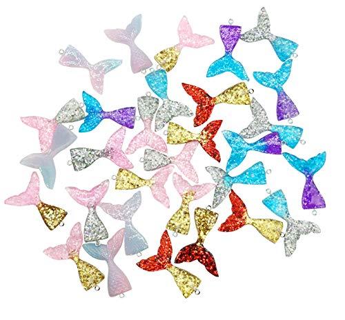 30 colgantes de resina con purpurina en forma de cola de sirena con purpurina en el interior para hacer joyas o manualidades