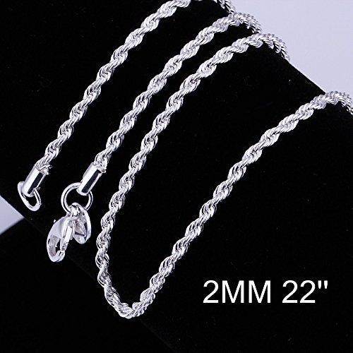 Zhiwen Fashion - Cadena de plata de ley 925 con cadena de cadena de 2 mm de cuerda a distancia, cadena de serpiente fina para mujeres y hombres (40,64 a 60,96 cm)