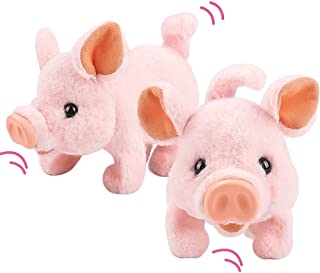 Walking Pig ToyPlush Interactive Piggy Pet Piggy Electronic Toy Piglet - Walking, Wag Tail, Wiggle Nose, Oink Sounds Earl...