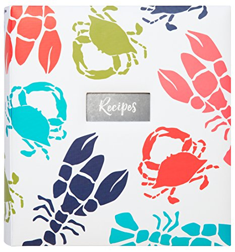 """C.R. Gibson Beach House and Nautical Décor Lobster and Crab Themed Kitchen Recipe Binder, 11"""" W x 12"""" L x 2.5"""" D"""