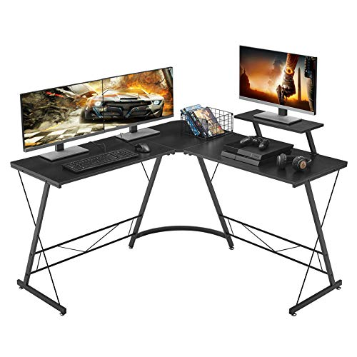 Mr IRONSTONE L-Shaped Desk 50.8' Computer Corner Desk, Home Gaming Desk, Office Writing Workstation with Large Monitor Stand, Space-Saving, Easy to Assemble, Black