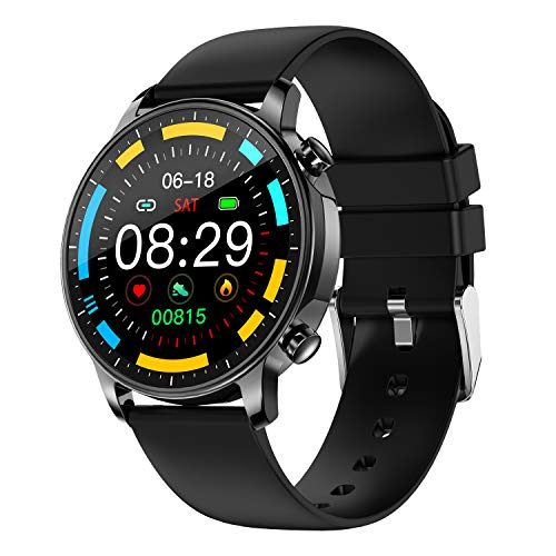 COLMI Smart Watch for Women Men,Waterproof Smartwatch with Heart Rate and Blood Pressure Monitor,Bluetooth Fitness Tracker Compatible with iPhone Andriod,Best Present for Couples (Black)
