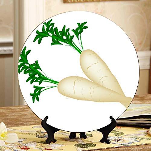 Platos de cerámica decorativos de rábano blanco fresco Daikon Platos de colores Decoración Placa oscilante para el hogar con soporte de exhibición Decoración Platos de cerámica bonitos para el hogar