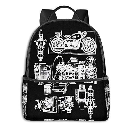 XCNGG Backpacks M 72 Motorcycle Engine BlowDiagram Casual Backpacks, Student School Bags