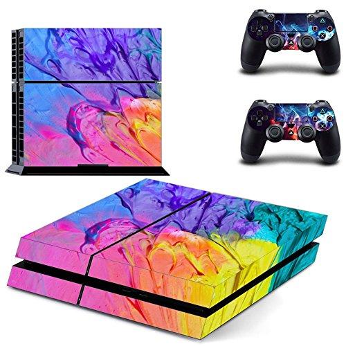Wondder PS4 Pegatina de Piel, Pegatina de Piel Adhesiva de Vinilo de Protección para PS4 Consolas + 2 Pieles de Controlador + 2 x Agarraderas de Silicona (Color 2)