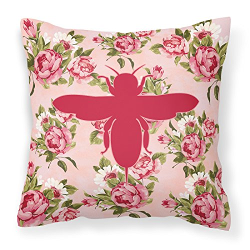 Price comparison product image Caroline's Treasures BB1057-RS-PK-PW1414 Bee Shabby Chic Pink Roses Fabric Decorative Pillow,  14Hx14W,  Multicolor