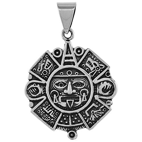 1 3/4 inch Sterling Silver Aztec Calendar Necklace for Men and Women Handmade Oxidized Finish 24 inch BXR_200