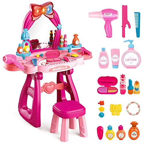Meland Toddler Vanity Set - Kids Vanity Table for Little Girls with Mirror and Beauty Salon Set, Birthday Christmas Pretend Toy Gifts for Little Princess