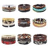 OMONT Lot de 29 Bracelets en Cuir tressé pour Homme, Corde de Chanvre et Perles en...