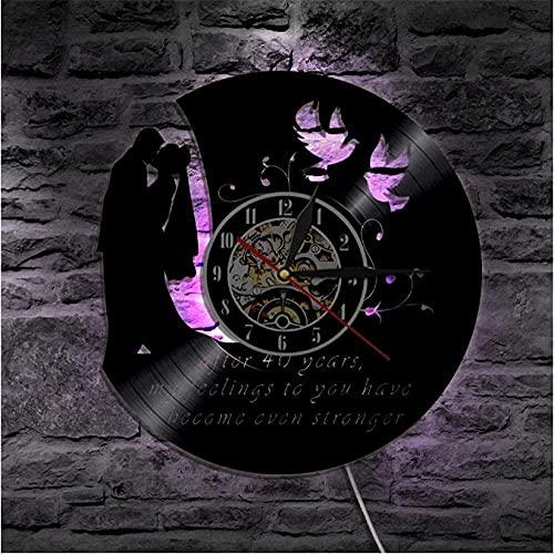 XYVXJ Reloj Personalizado Boda Disco de Vinilo Reloj de Pared Personalizado Aniversario...